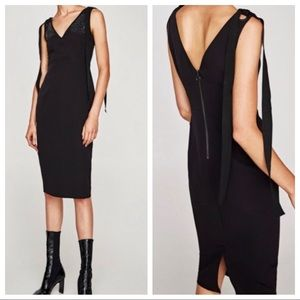 Zara Midi Dress Tie Shoulders Embellished
